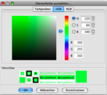 HSB Colour Selection Dialog