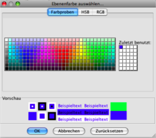 Choose from previous and pre-defined colours